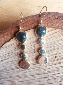 """Multi drop"" earring with Labradorite"