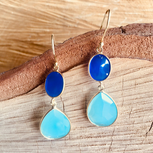 Double Chalcedony drop earrings