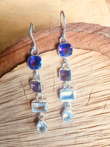 """Multi drop"" earrings with Amethyst and Clear quartz"