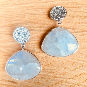 """Large single drop"" rainbow moonstone earring"