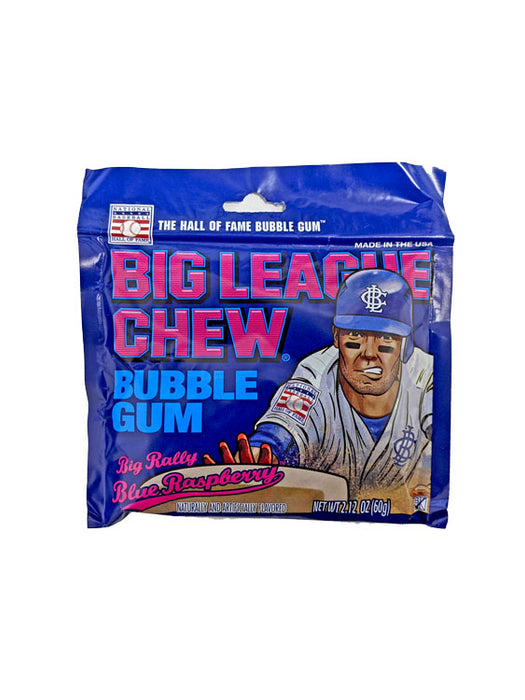 Big League Chew Rally Blue Raspberry Gum 2.12oz Pack or 12 Count Box