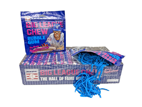 Big League Chew Big Rally Blue Raspberry Gum 2.12oz Pack or 12 Count Box