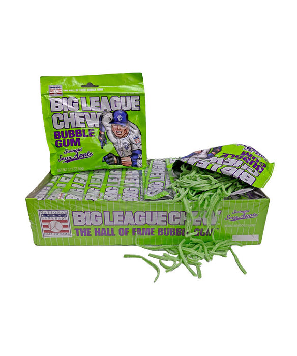 Big League Chew Swingin' Sour Apple Gum 2.12oz Pack or 12 Count Box
