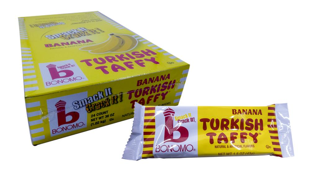 Bonomo Turkish Taffy Banana 1.5oz Bar or 24 Count Box