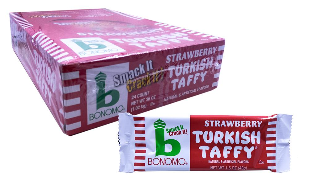 Bonomo Turkish Taffy Strawberry 1.5oz Bar or 24 Count Box