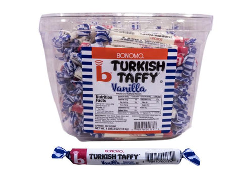 Bonomo Turkish Taffy Long Twist 192 Count Jar Vanilla Flavored