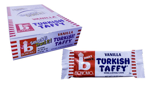 Bonomo Turkish Taffy 1.5oz Bar Vanilla 24 Count Box