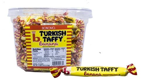 Bonomo Turkish Taffy Long Twist 192 Count Jar Banana Flavored