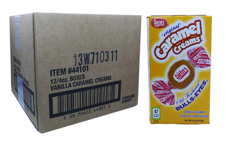 Caramel Creams 3oz Theater Box or 12 Count Case