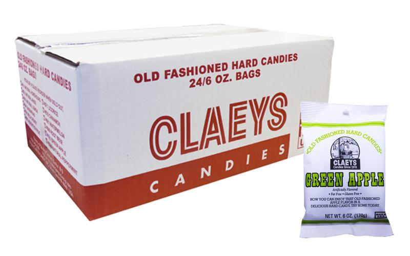 Claeys Candy 6oz Bag Green Apple 24 Count Box