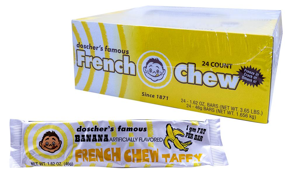 Doscher's Banana French Chew Taffy 1.62oz Bar or 24 Count Box