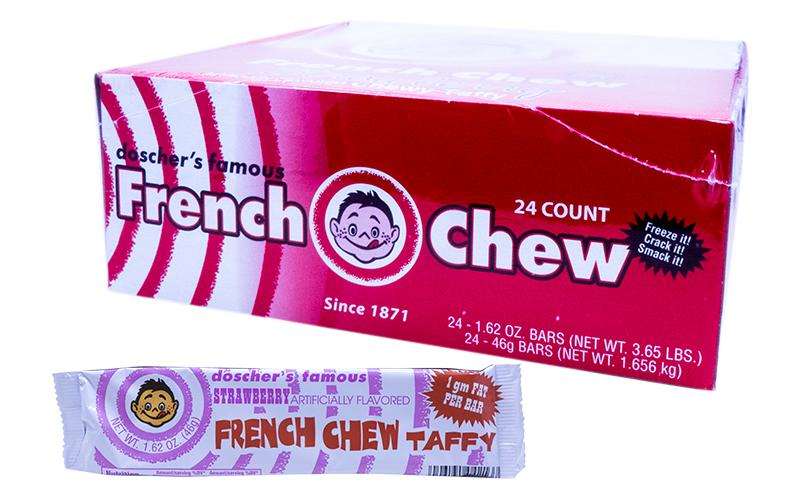 Doscher's Strawberry French Chew Taffy 1.62oz Bar or 24 Count Box