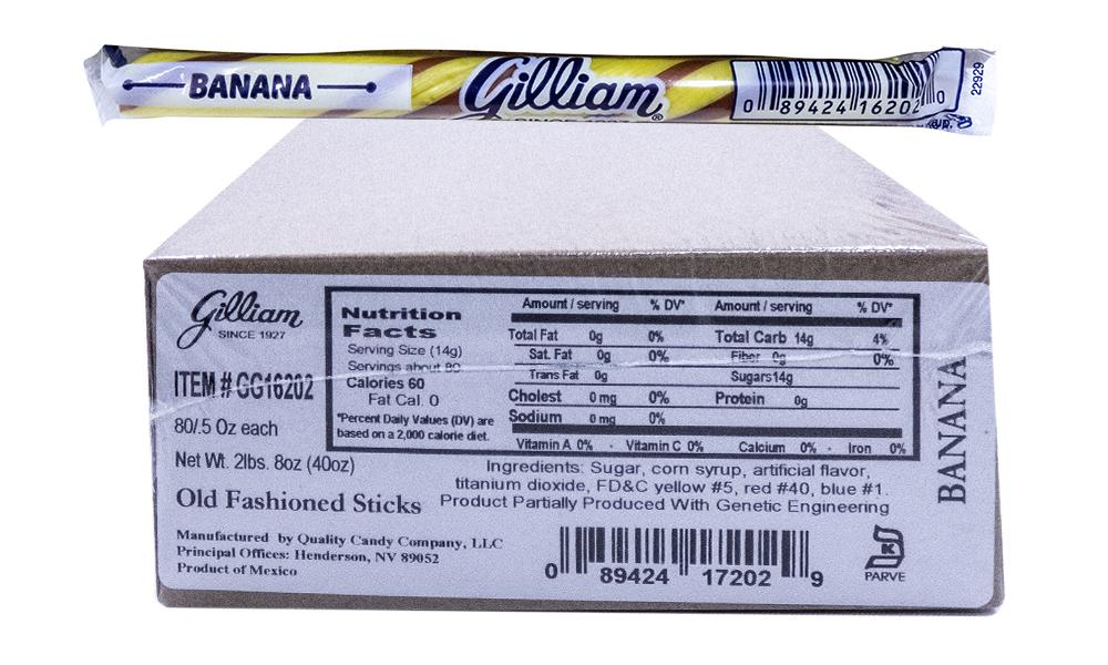 Gilliam .5oz Candy Sticks Banana 80 Count box