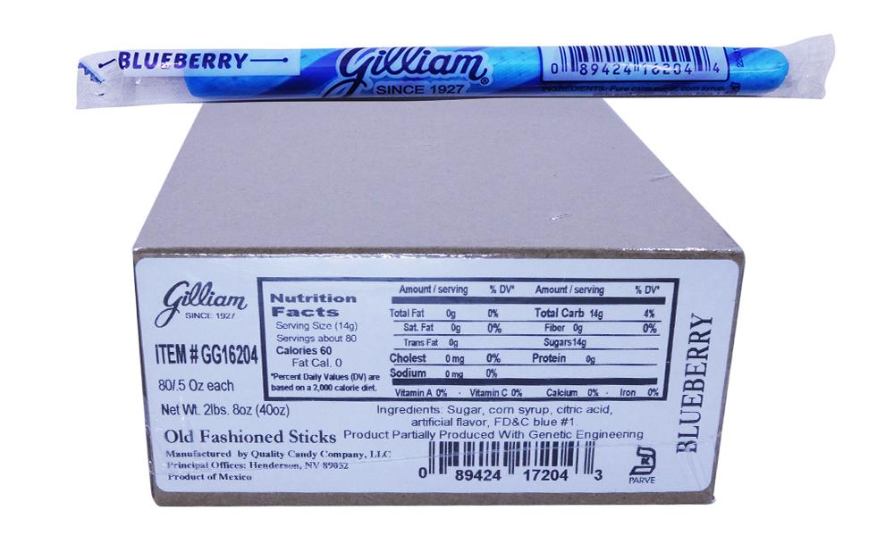 Gilliam .5oz Candy Sticks Blueberry 80 Count Box
