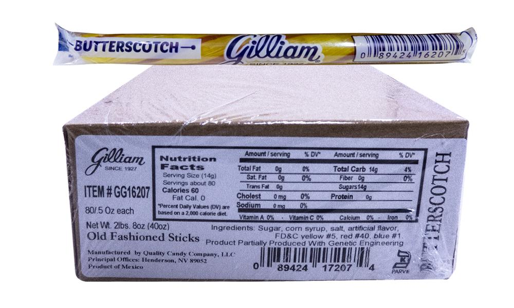 Gilliam .5oz Candy Sticks Butterscotch 80 Count Box