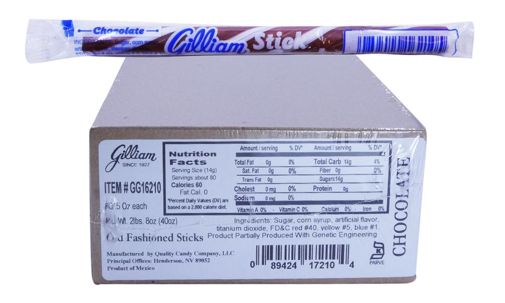 Gilliam .5oz Candy Sticks Chocolate 80 Count Box