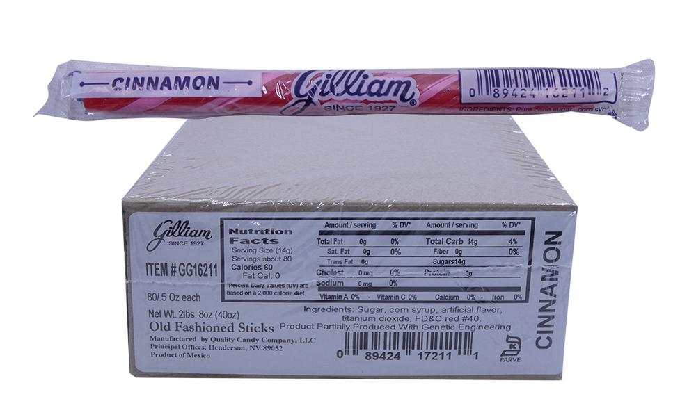 Gilliam .5oz Candy Sticks Cinnamon 80 Count Box
