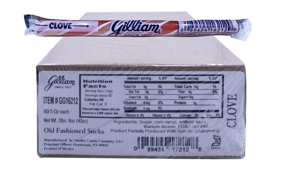 Gilliam .5oz Candy Sticks Clove 80 Count Box