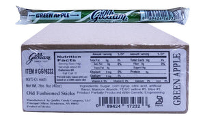 Gilliam .5oz Candy Sticks Green Apple 80 Count Box