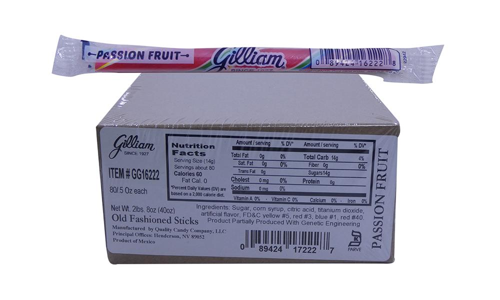 Gilliam .5oz Candy Sticks Passion Fruit 80 Count Box
