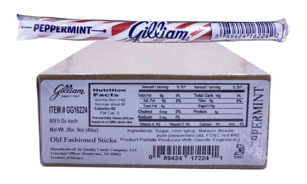 Gilliam .5oz Candy Sticks Peppermint 80 Count Box