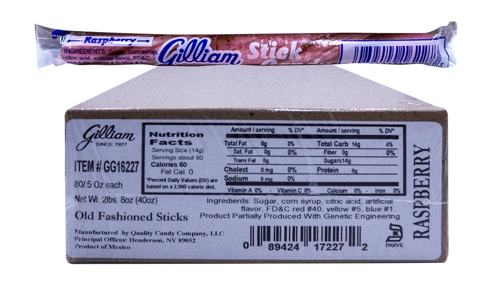Gilliam .5oz Candy Sticks Raspberry 80 Count Box