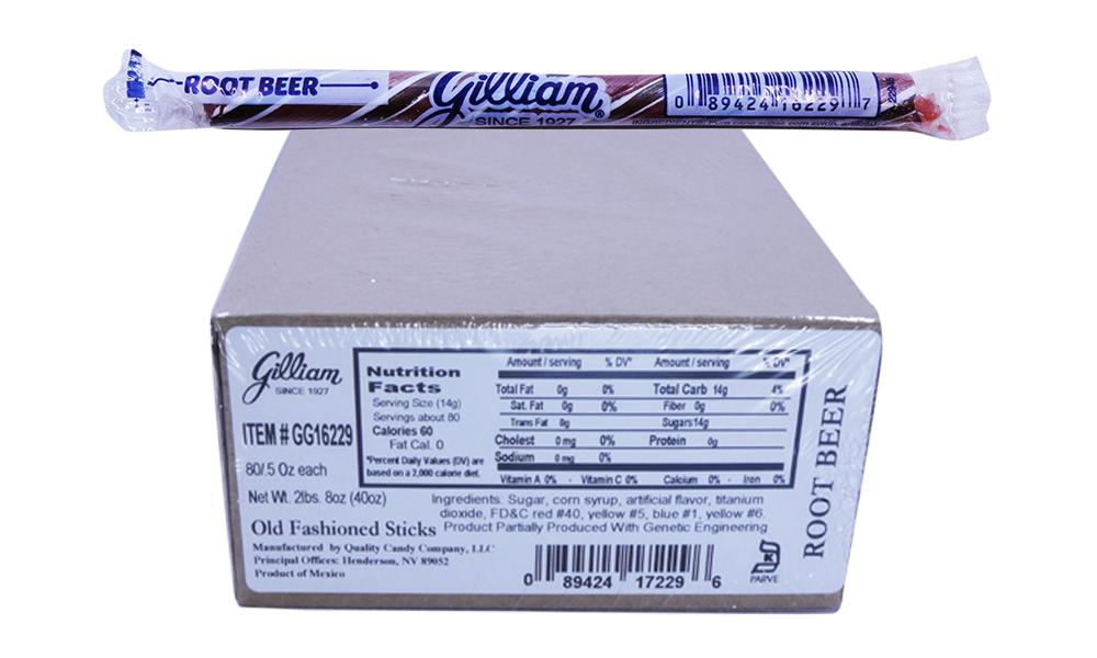 Gilliam .5oz Candy Sticks Root Beer 80 Count Box