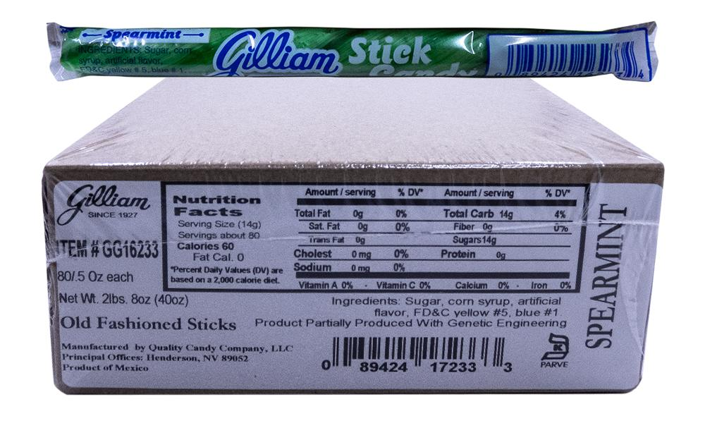 Gilliam .5oz Candy Sticks Spearmint 80 Count Box