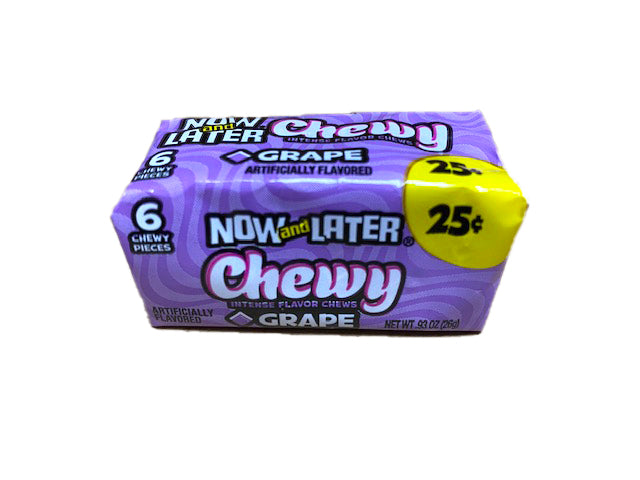 Now and Later Grape Chewy .93oz Stick Pack or 24 Count Box