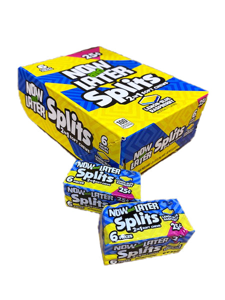 Now and Later Splits Lemon and Blue Raspberry .93oz Stick Pack or 24 Count Box