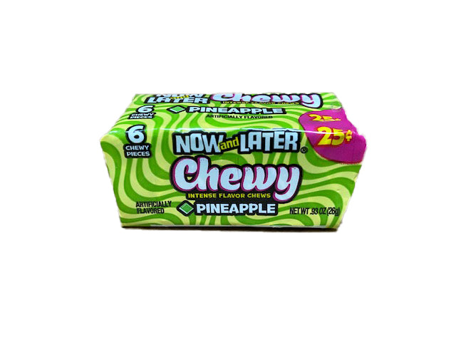 Now and Later Pineapple Chewy .93oz Stick Pack or 24 Count Box