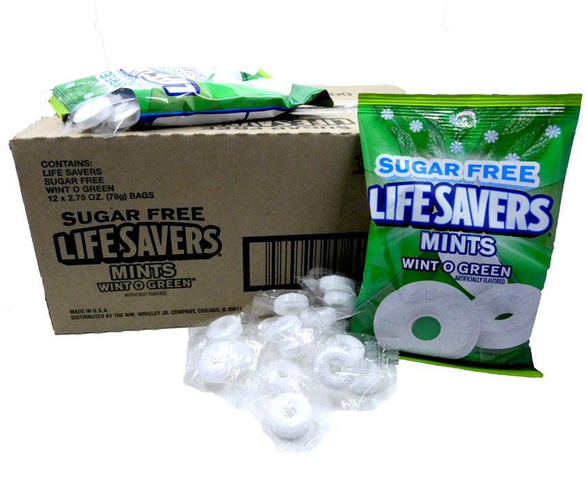 Life Savers Sugar Free Wint-O-Green 2.75oz Bag or 12 Count Box