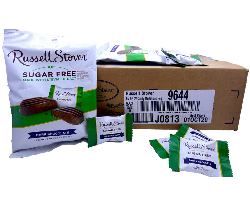Russell Stover Sugar Free Dark Chocolate 3oz Bag or 12 Count Box