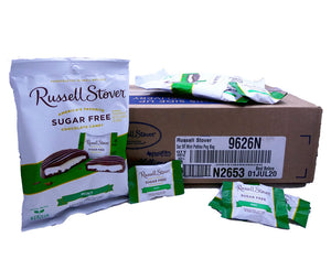 Russell Stover Sugar Free 3 oz Bag Mint Patties 12 Count Box