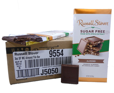 Russell Stover Sugar Free Chocolate Almond 3oz Bar or 12 Count Box