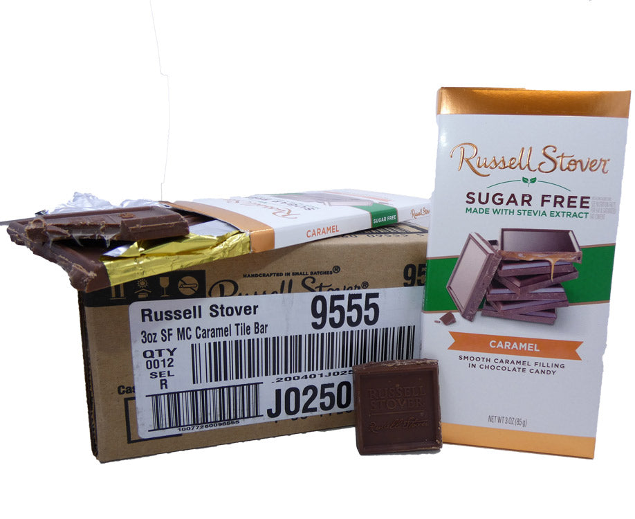 Russell Stover Sugar Free Chocolate Caramel 3oz Bar or 12 Count Box