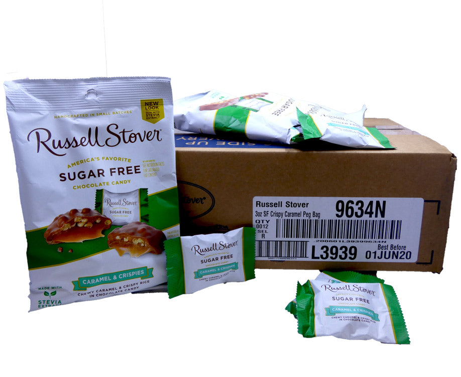 Russell Stover Sugar Free 3 oz Bag Caramel and Crispies 12 Count Box