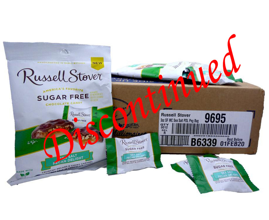Russell Stover Sugar Free 3 oz Bag Pecan Delight Sea Salt 12 Count Box Discontinued