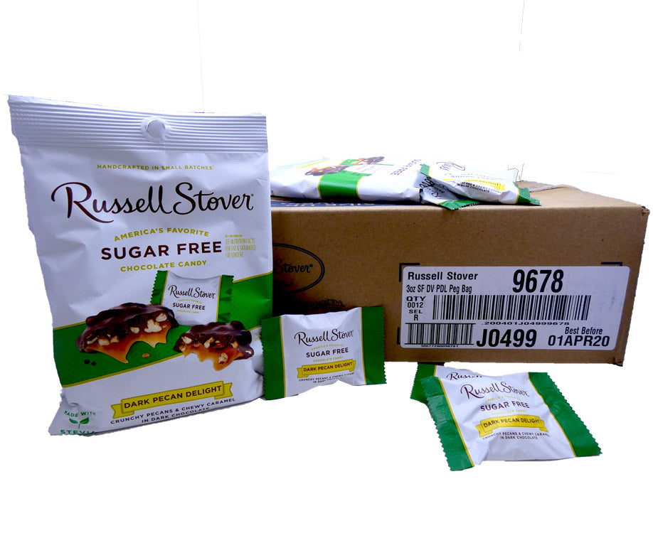 Russell Stover Sugar Free 3 oz Bag Pecan Delight Dark 12 Count Box