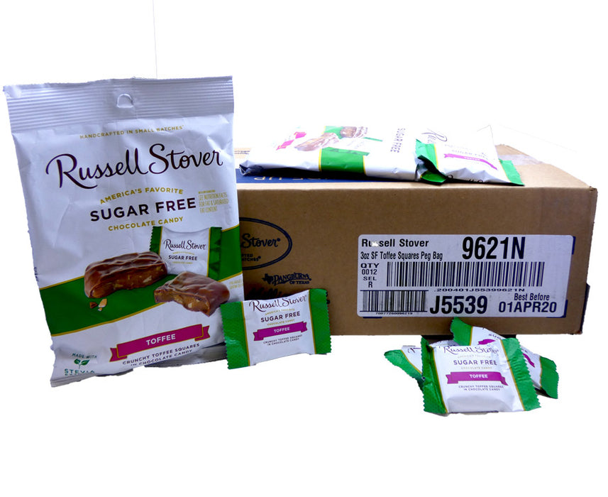 Russell Stover Sugar Free Toffee Squares 3oz Bag or 12 Count Box