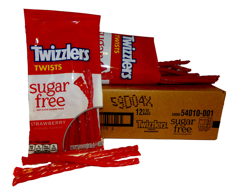 Twizzlers Sugar Free Bag Strawberry Licorice 5oz Bag Or 12 Count Box B A Sweetie Candy Store