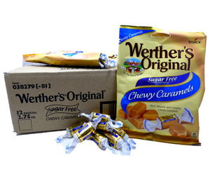 Werther's Original Sugar Free Chewy Caramel 2.75 oz Bag or 12 Count Box