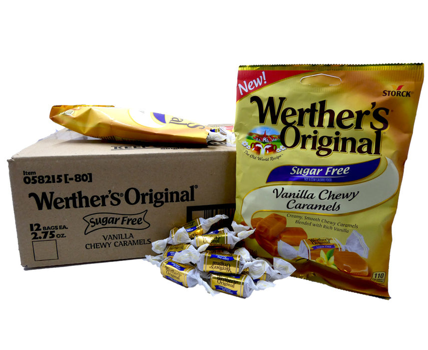 Werther's Original Sugar Free Chewy Caramel Vanilla 2.75 oz Bag or 12 Count Box