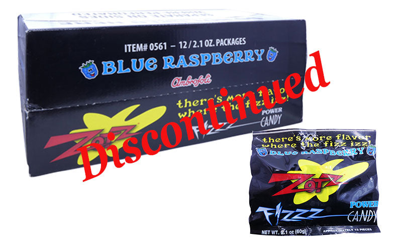 Zotz 2.1oz Pack Blue Raspberry 12 Count Box Discontinued