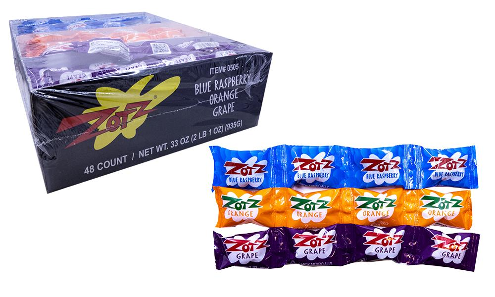 Zotz Strings Blue Raspberry, Orange, Grape .7oz String or 48 Count Box