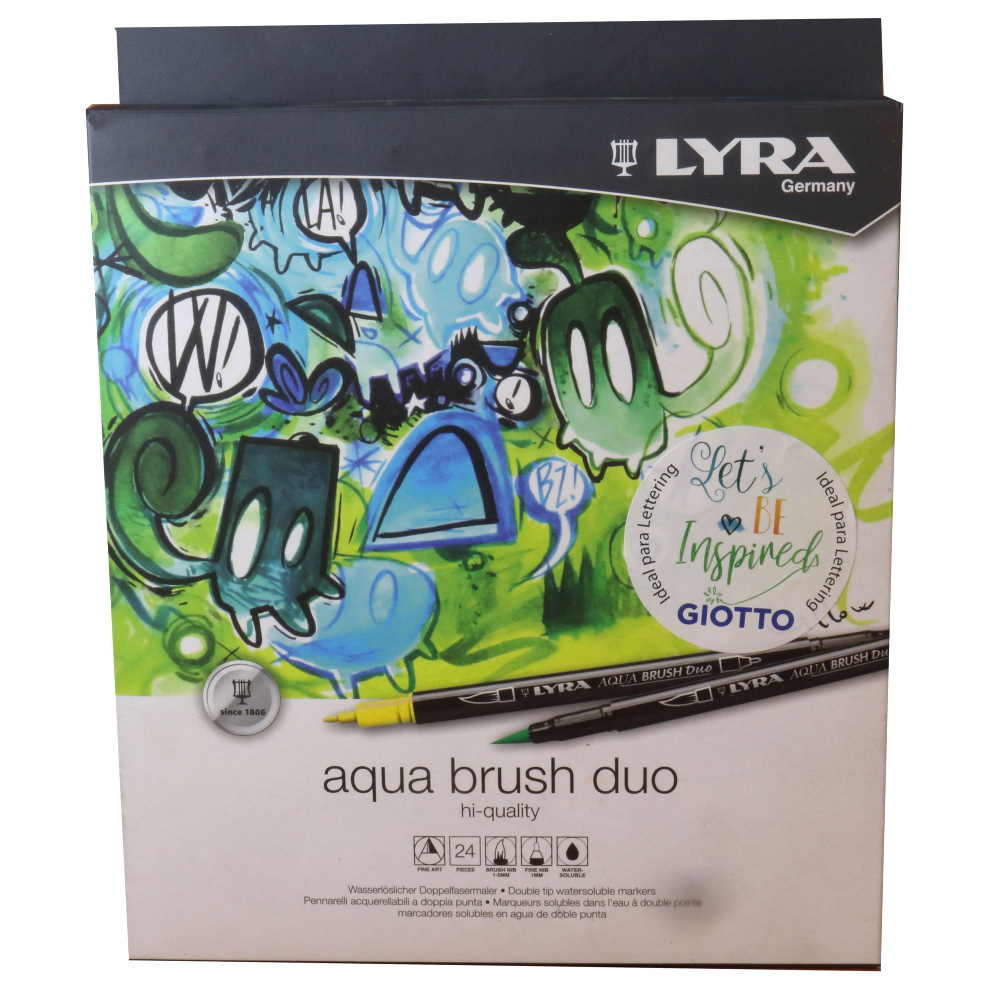 Plumones Lyra doble punta Aqua brush 24 colores