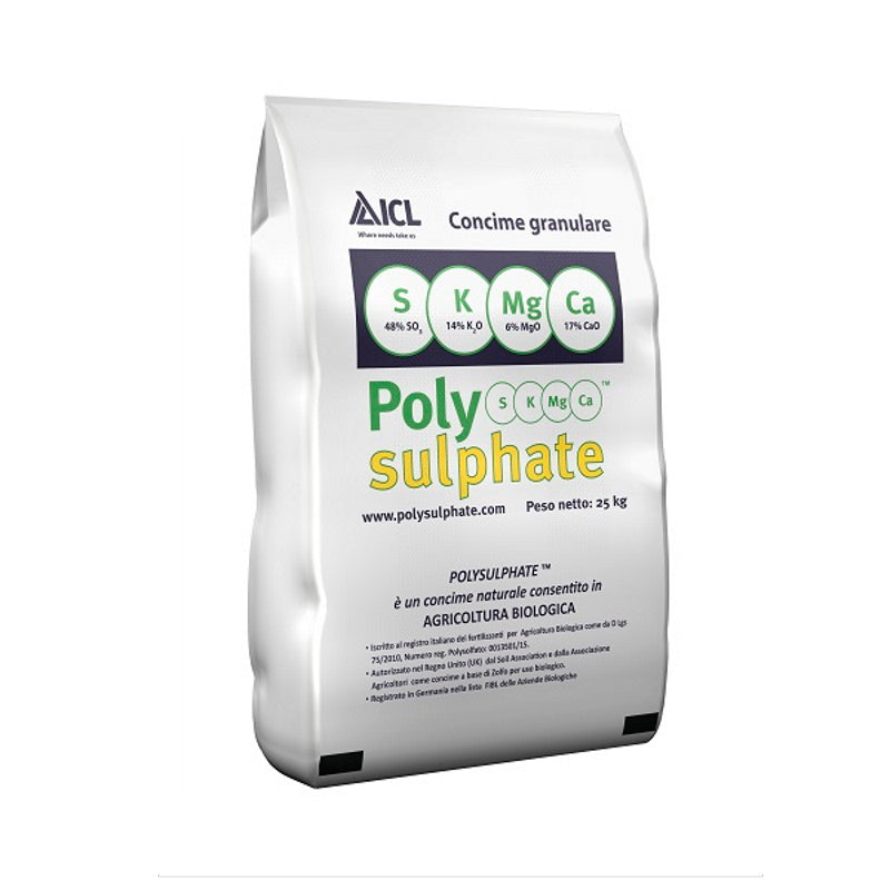 Poly-Sulphate  0+0+14 +17 CaO + 6 MgO + 48 SO3