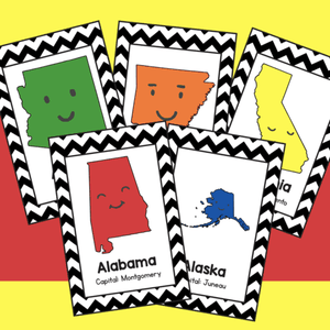 50 States Flash Cards (with Capitols)