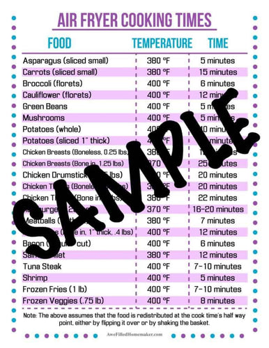Air Fryer Cooking Times- Cheat Sheet