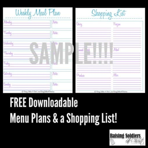 Meal Planning + Shopping List Printable